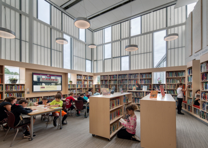 elementary library with natural lighting